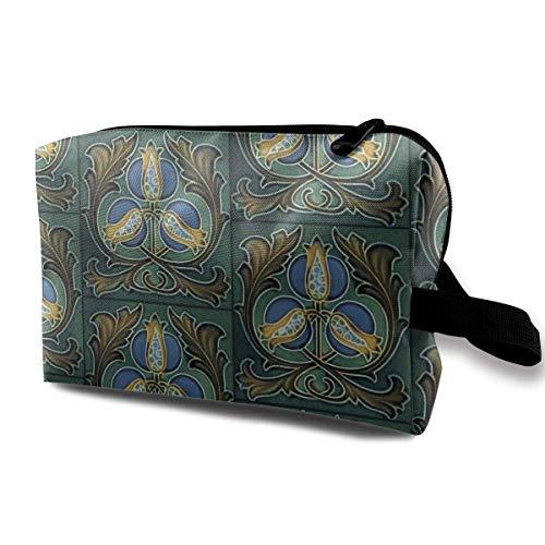 Jugendstilfliesen, Hagebutten_2580 Kulturbeutel Kosmetiktasche Tragbare Schminktasche Reisebehang Organizer-Tasche für Frauen Mädchen 10x5x6,2 Zoll