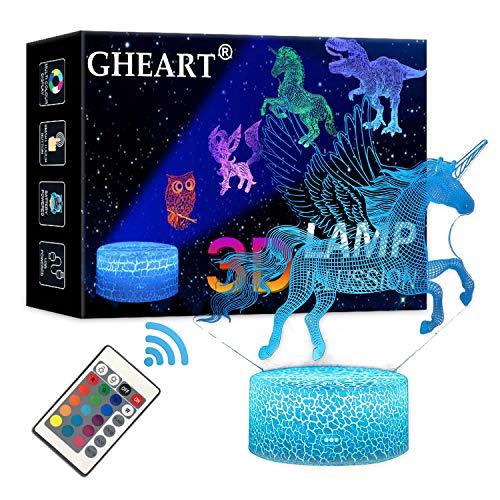 3D Einhorn Lampe Nachtlicht LED Illusion Lampe Jungen Kinder Deko Licht Stimmungslicht Nachttischlampe Fernbedienung ändern Touch Switch Schreibtisch Lampen Geburtstagsgeschenk