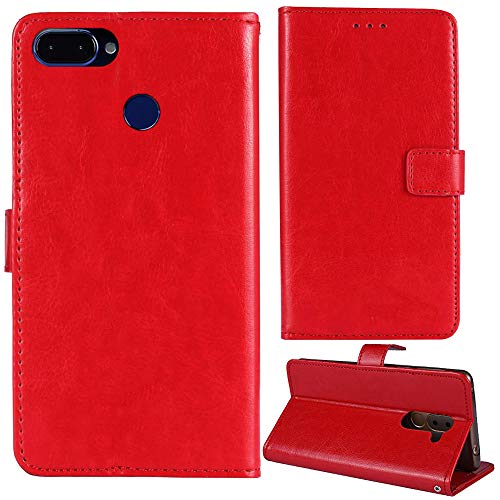 Lankashi Stand Premium Retro Business Flip Leather Case Protector Bumper For ROKiT IO 3D 5.45' Protection Phone Cover Skin Folio Book Card Slot Wallet Magnetic(Red)