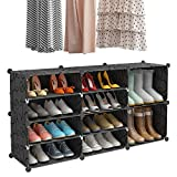 KOUSI Portable Shoe Rack for Closet Shoe Organizer Tower Shelf Shoe Storage Cabinet Stand Expandable for Heels, Boots, Slippers