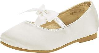 Girl's Mary Jane Front Bow Elastic Strap Ballerina Flat