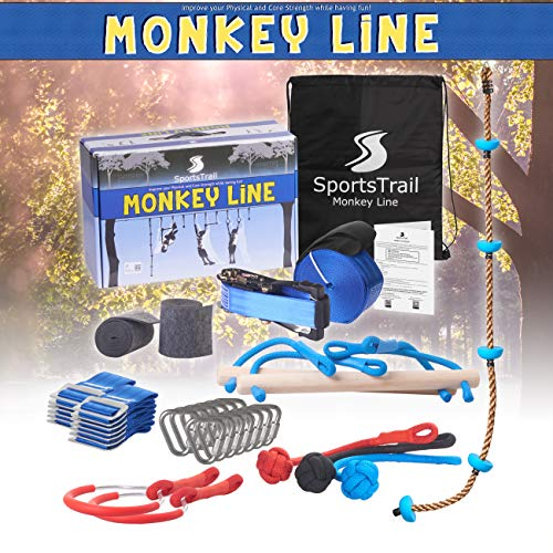 Ninja Slackline Kids Obstacle Course, 42' Jungle Gym Monkey Bars Kit for Kids and Adults + Climbing Rope, Warrior Training Obstacle Course Equipment, Trapeze Swing, Gymnastic Bar, Rope Ladder, Wheel