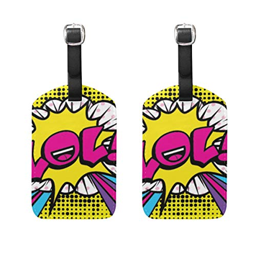 WINCAN Luggage Tags (Assorted, 2 PK),Pop Art Comics Icon LOL Speech,Bag Tag for Baggage,Backpacks Suitcase Tags