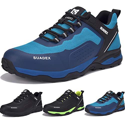 SUADEX Arbeitsschuhe Herren Sicherheitsschuhe Herren s3 Leicht Atmungsaktiv Sportlich Schutzschuhe mit Stahlkappen (Blau, 45EU)