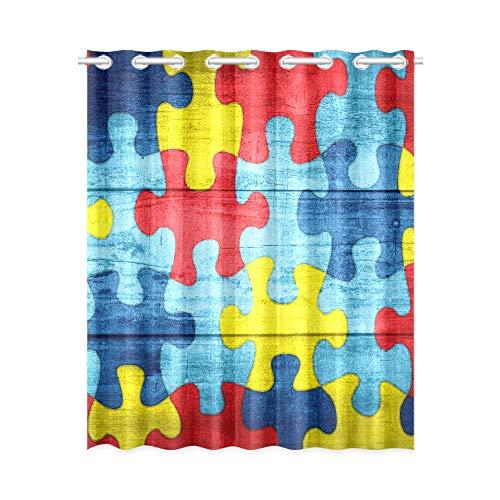 YXUAOQ Fenstervorhang Kinder Bunte Autismus Awareness Puzzle Holz Schlafzimmer Vorhang Lichter 52x63 Zoll (132x160cm) 1 Panel Blackout Tülle Vorhang für Schlafzimmer Wohnzimmer