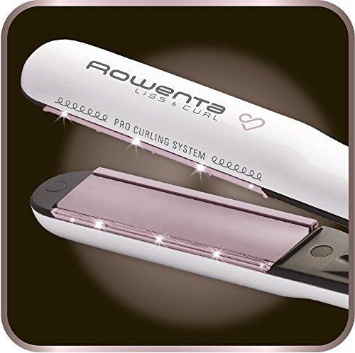 Rowenta Premium Care Liss & Curl SF7660F0 - Plancha de pelo con función alisadora y rizadora, recubrimiento de cashmere Keratin con aceite de argán, generador de iones, protección cabello