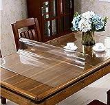 Glasklar Folie PVC Tischabdeckung Tischfolie Abwischbar Film Transparent Tischdecke Kunststoff 1,8 mm dick Schutzfolie Tischschutz Lebensmittelgeeignet Durchsichtig Tischschoner (110, 80)