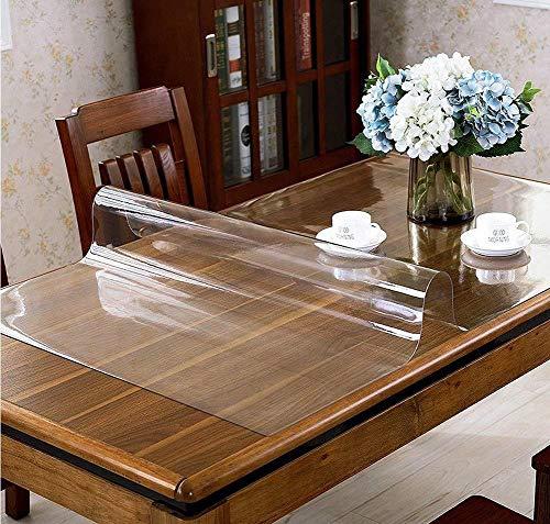Glasklar Folie PVC Tischabdeckung Tischfolie Abwischbar Film Transparent Tischdecke Kunststoff 1,8 mm dick Schutzfolie Tischschutz Lebensmittelgeeignet Durchsichtig Tischschoner (110, 70)