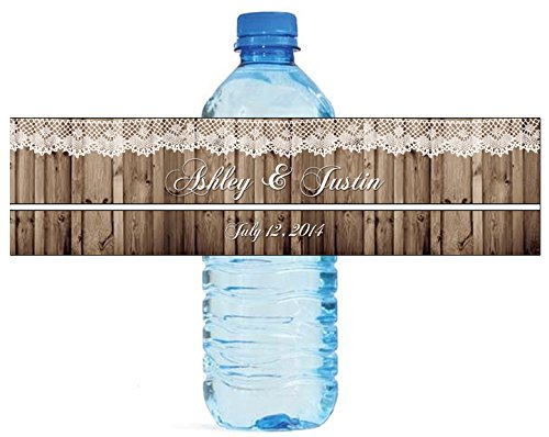 """Rustic Wood and Lace Wedding Water Bottle Labels Engagement Party 8""""x2"""" 100 Labels Per Order"""
