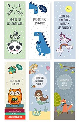 dabelino 6er Set Tiere-Lesezeichen für Kinder (Einhorn, Fuchs, Eulen, Dinosaurier, Panda, Meerjungfrau / Mitgebsel)