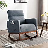 Altrobene Rocking Chair Fabric High Back Armchair Upholstered Leisure Chair with Padded Seat Wooden Base, Modern Relax Chair, Grey