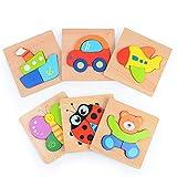Sinwind Giocattoli da Puzzle in Legno, 3D Puzzle in Legno Giocattoli Bambini Set da 6 Pezzi, Educativo Giocattoli Giochi Set Regalo per 1-4 Anni Bambina Bimbo Ragazza Ragazzo