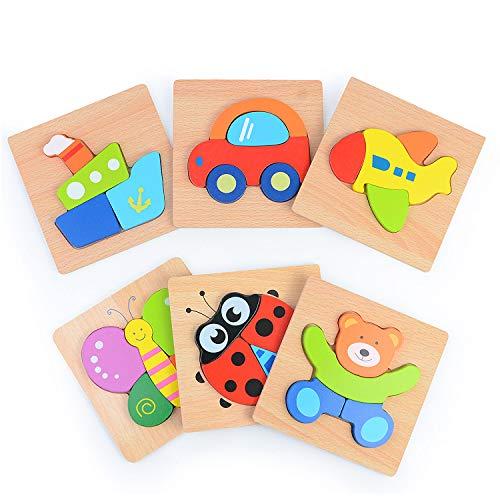 Sinwind Puzzles de Madera Educativos para Bebé, Puzzles de Madera Educativos para Bebé, Juguetes niños 1 año 2 años 3 años, Dibujo de Animal Colorido con Placa, Regalo de cumpleaños, Navidad