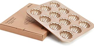 CHEFMADE Madeleine Mold Cake Pan, 12-Cavity Non-Stick Heart Scallop Madeline Bakeware, Oven Baking (Japanese Shells 12 Cups - Gold)