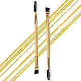2 cepillos profesionales en ángulo doble para cejas y pestañas, de madera natural, cepillo para...