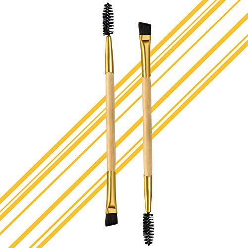2 cepillos profesionales en ángulo doble para cejas y pestañas, de madera natural, cepillo para cejas, cepillo para cejas, cepillo para pestañas