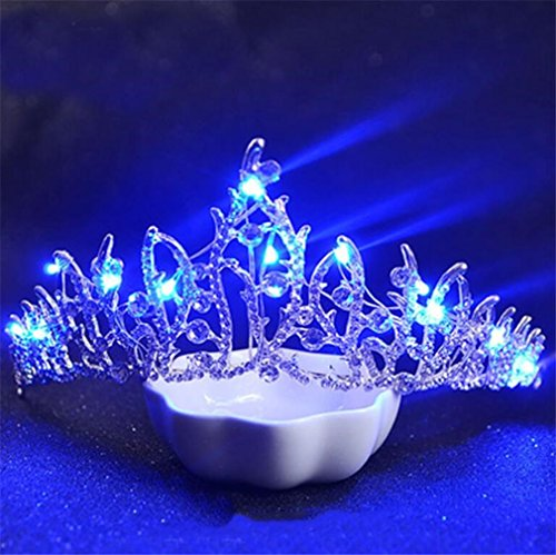 ELEGENCE-Z Bruiloft bal Bridal Crown strass kristal decoratieve hoofdband met sluier hoofdtooi (zilver verlichte