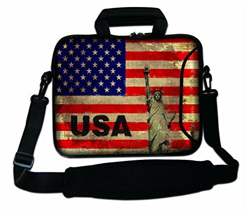 Luxburg® 15,6 Zoll Schultertasche Notebooktasche Laptoptasche Tasche mit Tragegurt aus Neopren für Laptop/Notebook Computer - USA-Flagge