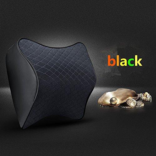 Memory Foam Car Headrest Almohada Soporte para el Cuello Almohada Asiento de Coche Almohada de Cuero Aliviar la Fatiga Respirable Cubierta Extraíble para Cuatro Estaciones (Negro)