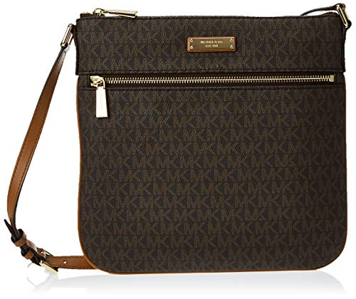 "Signature MK print coated twill with gold-tone hardware Approx. 10.25 x 10 x 0.5""; 22.25-25.75"" adjustable cross-body strap drop Front zip pocket and back snap pocket outside Slit pocket and 6 card slots inside Top zip closure with 100% Polyester lin..."
