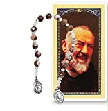 Saint Pio of Pietrelcina Padre Pio Marble Brown Beads Chaplet Patron Saint of Civil Defense Volunteers Adolescents and Stress-Relief and a Prayer Card Blessed by His Holiness Pope Francis
