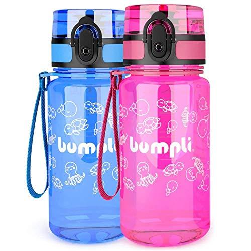 bumpli ® Kinder Trinkflasche - 350ml - schadstofffreie Kinderflasche mit auslaufsicherem 1-klick Verschluss - ideal für Kindergarten, Schule, Ausflüge - besonders leicht und robust (pink)