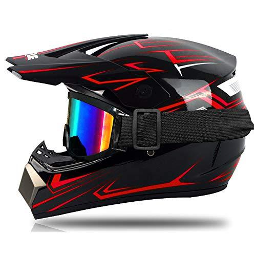 Motocross-Helm, für Kinder, Rot und Grün, Integralhelm für Motocross, MTB, mit Brille, Handschuhe, geeignet für Scooter Fahrrad (S,Rot)