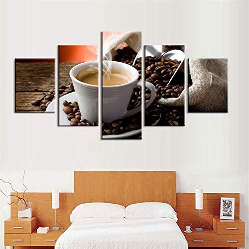 Canvas schilderij muurschildering HD print koffie zoete 5 stuks drank woondecoratie modulaire woonkamer foto kunstwerk poster