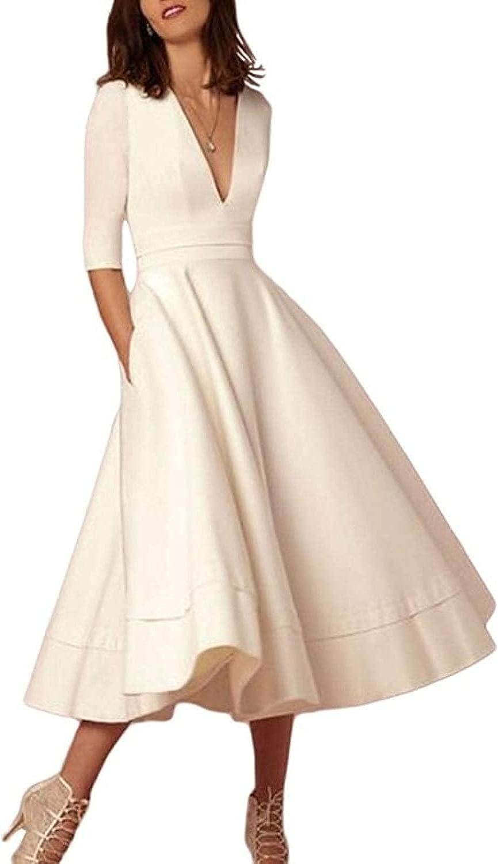 Women's Deep V Neck Dress Summer New Work Business Formal Half Sleeve Long Skate Dress