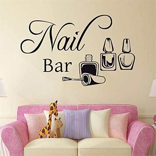 jtxqe Nail Bar Manicure Nail Beauty Salon Wall Window Manicure Polishing Wall Decal Sticker Quotes Removable Wall Stickers Decals For The Kitchen Wall Of The Family Living Room Bedroom 92X57Cm