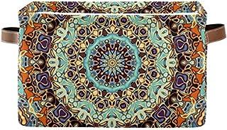 DOSHINE Panier de rangement pliable avec poignées Motif mandala indien tribal floral bohème Grand panier à linge pour orga...