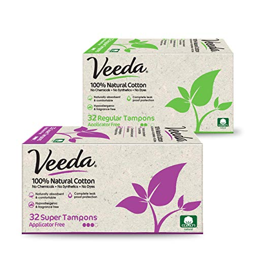 Veeda 100% Natural Cotton Applicator Free Tampons, Chlorine, Toxin and Pesticide Free Digital Tampons, Regular and Super, 32 Count Each