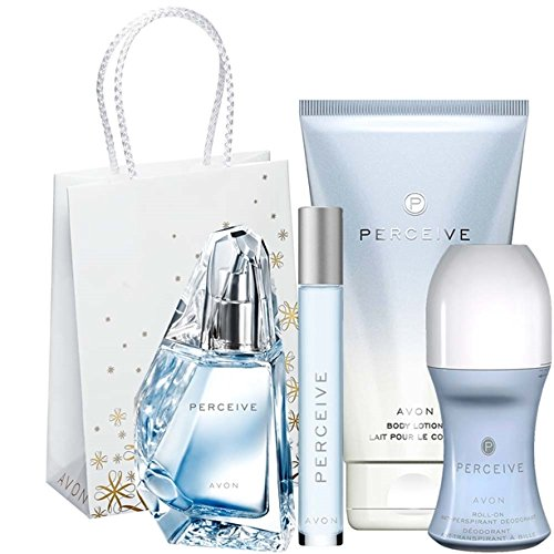 Avon Perceive Set für Sie Eau de Parfum + Körperlotion + Mini Duftroller + Deorroller