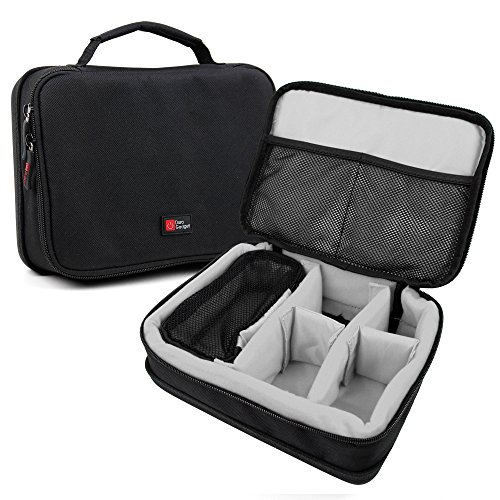 DURAGADGET Bolsa Acolchada Profesional Negra con Compartimentos e Interior en Gris para cámaras Deportivas Excelvan Q3 / Q5 / DV Y8 / Elephone ELE CAM Explorer