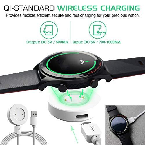Mypace2 2X Qi Wireless Ladestation mit USB Kabel USB Ladegerät Leistungsmagnetische Adsorption Ladegerät ansehen Energiequelle Dockingstation Kompatibel mit Huawei Watch GT2 Zubehör