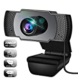 Webcam, Webcam with Microphone, USB Webcam with 3D Denoising and Automatic Gain, 1080p Webcam for Video Calling, Online Classes &Video Conference