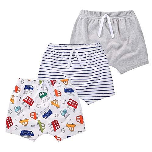 mini eggs Baby Boy Shorts 3 Pack Cotton Pull On Pants for Toddler Kids