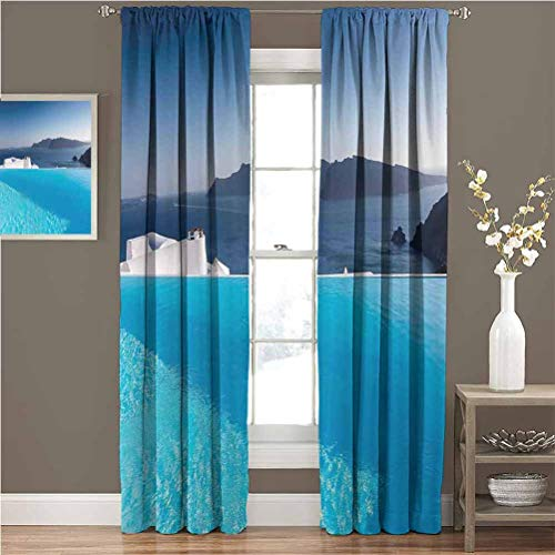 June Gissing House Decor Best Home Fashion Thermal Insulated Blackout Curtains Luxury Resort Swimming Pool in Santorini Absorb Noise W96xL84 Greece Mediterranean Panorama Photo