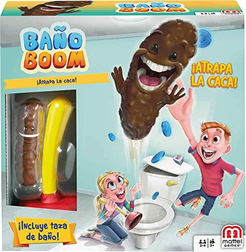 Mattel Games - Baño Boom, Atrapa la Caca, Juego de mesa infantil...