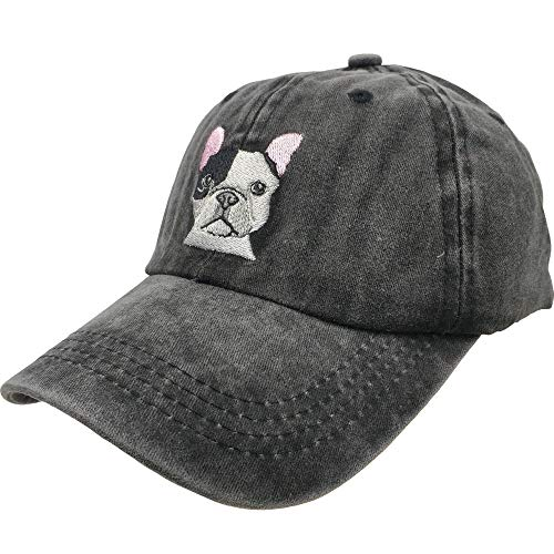 Women's Embroidered Baseball Cap French Bulldog Dog Vintage Distressed Dad Hat Black