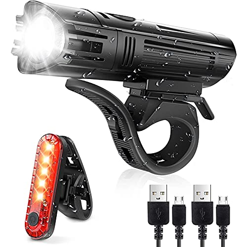 Playpen Conjunto Super Bright Bike Lights USB Faro de Bicicleta Recargable y luz Trasera DIRIGIÓ Linterna con 4 Modos. IPX4 Luz de Bicicleta Impermeable para la Visibilidad de Ciclismo óptimo