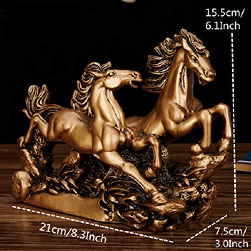 yueyue947 15,5 cm Harz Paar Pferd Figuren Vintage Double Horse Handwerk Kreative Ornamente Für Büro Dekoration Zubehör/Kupfer Pferd