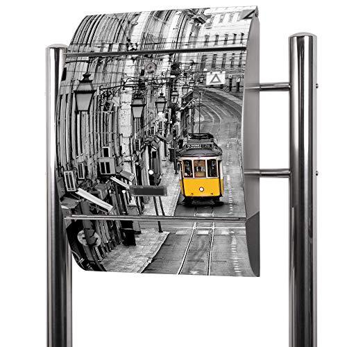 Banjado Briefkasten Edelstahl mit Ständer   Postkasten freistehend 126x53x17cm   Standbriefkasten mit Zeitungsfach und Namensschild Motiv Lissabon