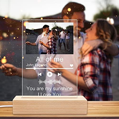 Spotify Personalizado,Placa Spotify Personalizada con Luz de Noche,Cuadro Spotify Glass Song,Marco Personalizado...