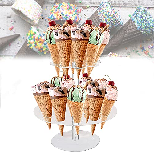 2-Tier Ice Cream Cone Holder, 24-Cavity Round Clear Acrylic Cupcake Waffle Cone Display Stand Baby Showers Birthday Parties Weddings Anniversaries Christmas Halloween Candy Decorative