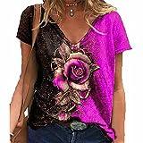 ZFQQ Top de Camiseta Suelta de Manga Corta con Cuello en V y Rosa 3D para Mujer de Verano