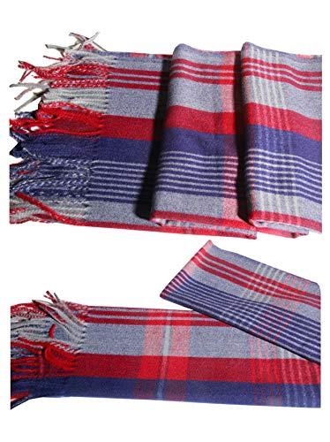 Vestido clásico de lana de cachemira azul y rojo de lujo para invierno suave y cálido regalo especial para cualquier estación.