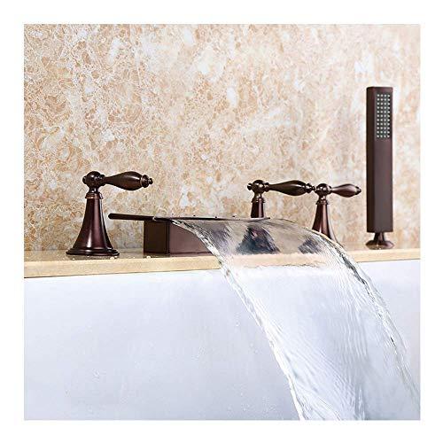 Grifo de bañera de cascada ensanchado con agua fría y caliente Ampliado 5 orificios Grifo de bañera de 3 manijas Grifo de bañera montado en la cubierta Grifos mezcladores de ducha de baño con duc
