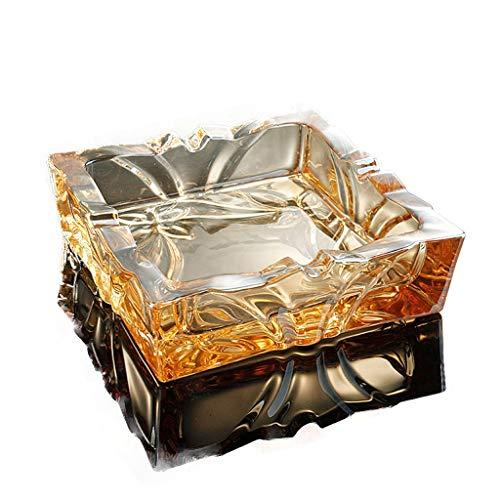 JXLBB Vierkant Goud Champagne Creatieve Graveren Persoonlijkheid Europese Glas Asbak Mode Kantoor Woonkamer Koffie Tafel Kristal Asbak Kristal Glas Kristal Helder