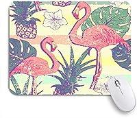 NIESIKKLAマウスパッド Tシャツパターンフラミンゴマウイ鳥パイナップルネイチャーグラフィックトロピカルヴィンテージシャドウフロリダラベルパーム ゲーミング オフィス最適 おしゃれ 防水 耐久性が良い 滑り止めゴム底 ゲーミングなど適用